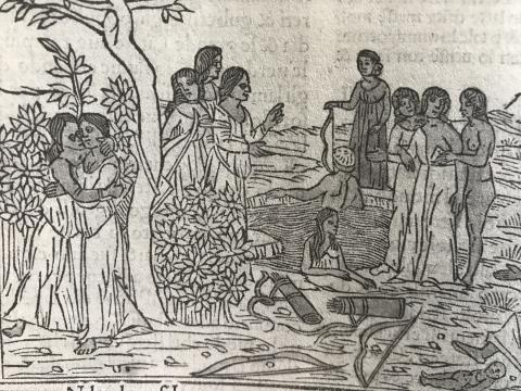 Myth of Callisto - 1497 woodcut from a commentary on Ovid