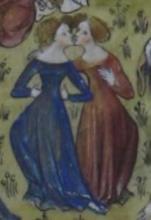 Roman de la Rose, women kissing